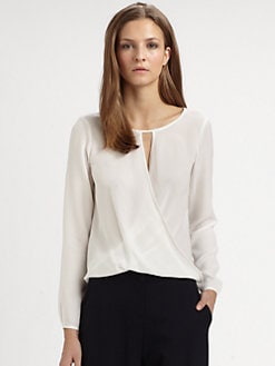 Theory - Aija Wrap Front Silk Top
