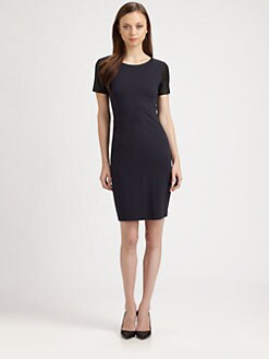 Theory - Leilana Leather & Jersey Dress