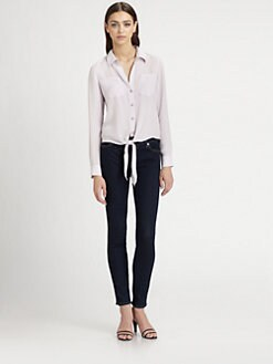 Theory - Orencia Silk Tie-Front Blouse