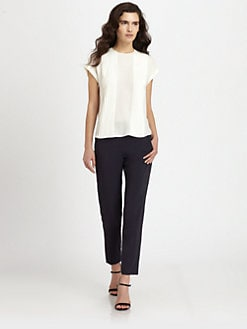 Theory - Sellida Pleated Silk Blouse