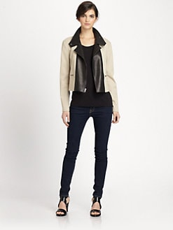 Theory - Velea Clovis Leather Panel Jacket
