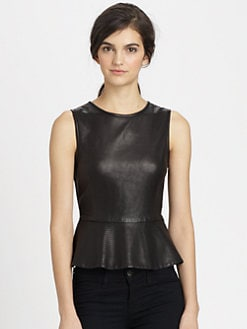 Theory - Elleria Ford Leather Peplum Top