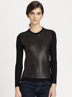 Theory - Yulia Wool & Leather Sweater