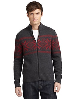 BLUE Saks Fifth Avenue - Fair Isle Full Zip Sweater
