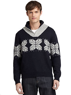 BLUE Saks Fifth Avenue - Snowflake Shawl-Collar Sweater