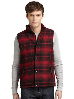 BLUE Saks Fifth Avenue - Plaid Moleskin Vest