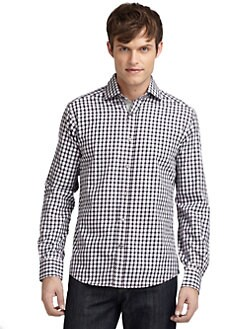 BLUE Saks Fifth Avenue - Checker-Plaid Cotton Shirt