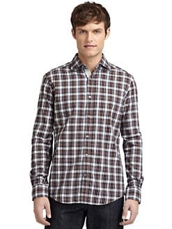 BLUE Saks Fifth Avenue - Plaid Cotton Shirt