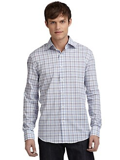 BLACK Saks Fifth Avenue - Plaid Spread-Collar Shirt