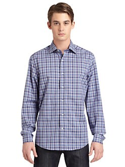 BLACK Saks Fifth Avenue - Checkered-Plaid Cotton Shirt