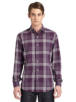 BLACK Saks Fifth Avenue - Plaid Cotton Button-Down Shirt