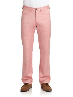 BLUE Saks Fifth Avenue - Oxford Hickory Cotton Pants