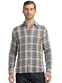 BLUE Saks Fifth Avenue - Cotton Doubled-Face Plaid Button-Down Shirt/Blue Multi