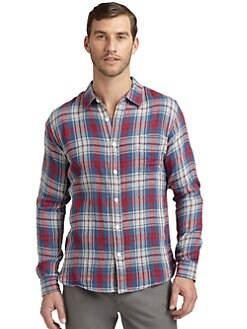 BLUE Saks Fifth Avenue - Cotton Doubled-Face Plaid Button-Down Shirt/Blue Red