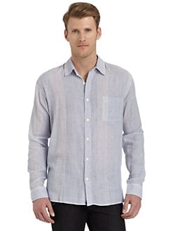 BLUE Saks Fifth Avenue - Striped Plaid Cotton Button-Front Shirt