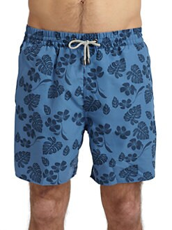 BLUE Saks Fifth Avenue - Floral Leaf Swim Trunks