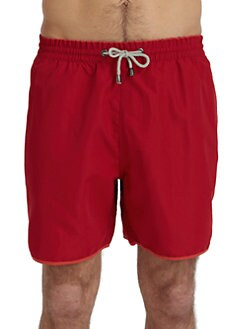 BLUE Saks Fifth Avenue - Solid Tipped Swim Trunks/Red