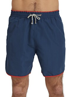 BLUE Saks Fifth Avenue - Solid Tipped Swim Trunks/Blue