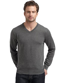 BLUE Saks Fifth Avenue - Classic Wool V-Neck Sweater