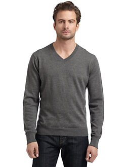 BLUE Saks Fifth Avenue - Wool Diamond Seam Sweater