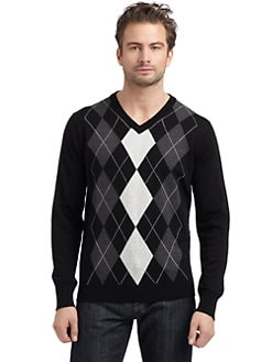 BLUE Saks Fifth Avenue - Wool Argyle Sweater