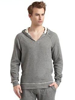GRAY Saks Fifth Avenue - Cotton Jersey Raw Edge Hoodie