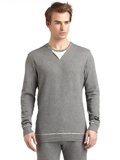 GRAY Saks Fifth Avenue - Cotton Jersey Raw Edge Crewneck Pullover