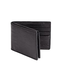 BLACK Saks Fifth Avenue - Lizard-Embossed Leather ID Wallet