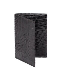 BLACK Saks Fifth Avenue - Lizard-Embossed Leather Folding Card Case
