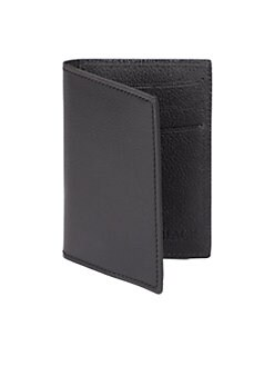 BLACK Saks Fifth Avenue - Smooth Leather Folding Card Case