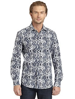 BLACK Saks Fifth Avenue - Paisley Print Button-Down Shirt