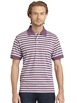 BLACK Saks Fifth Avenue - Striped Cotton Polo Shirt