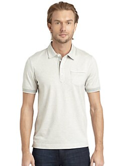 BLACK Saks Fifth Avenue - Slim-Fit Micro-Striped Cotton Polo Shirt
