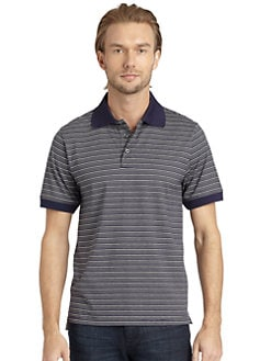 BLACK Saks Fifth Avenue - Micro-Striped Cotton Polo Shirt