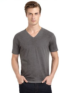 GRAY Saks Fifth Avenue - Cotton Spray Wash V-Neck Tee