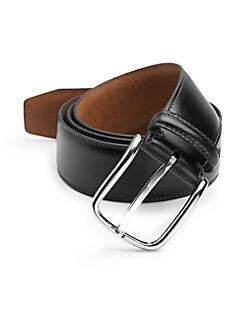 BLACK Saks Fifth Avenue - Curved Buckle Leather Belt/Black
