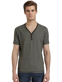 RED Saks Fifth Avenue - Raw Edge Placket Tee