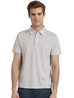 RED Saks Fifth Avenue - Silk & Cotton Polo Tee