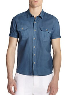 GRAY Saks Fifth Avenue - Cotton/Linen Short-Sleeve Shirt