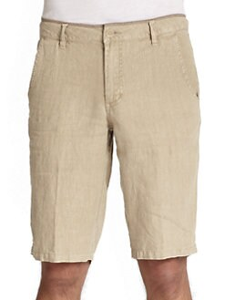 GRAY Saks Fifth Avenue - Linen Flat-Front Shorts
