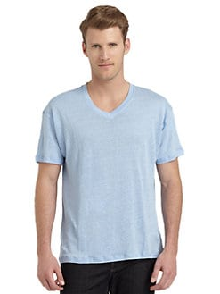 BLUE Saks Fifth Avenue - V-Neck Linen Tee