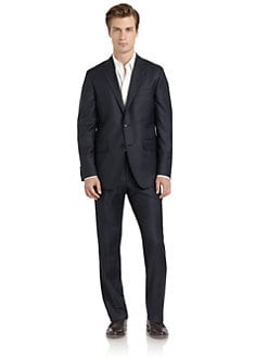 BLACK Saks Fifth Avenue - Wool Plaid Two-Button Suit