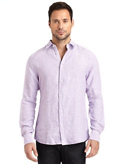 BLUE Saks Fifth Avenue - Linen Button-Front Shirt