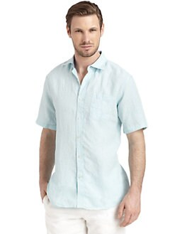 BLUE Saks Fifth Avenue - Short-Sleeve Button-Front Linen Shirt/Blue