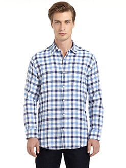 BLUE Saks Fifth Avenue - Linen Gingham Button-Front Shirt