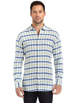 BLUE Saks Fifth Avenue - Linen Plaid Button-Front Shirt