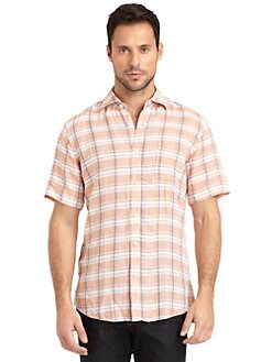 BLUE Saks Fifth Avenue - Linen Plaid Button-Front Shirt/Orange