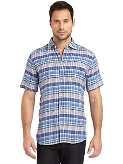 BLUE Saks Fifth Avenue - Linen Plaid Button-Front Shirt/Navy