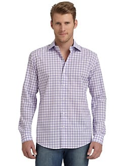BLACK Saks Fifth Avenue - Slim-Fit Gingham Check Cotton Shirt