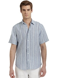 BLUE Saks Fifth Avenue - Linen Striped Button Front Shirt